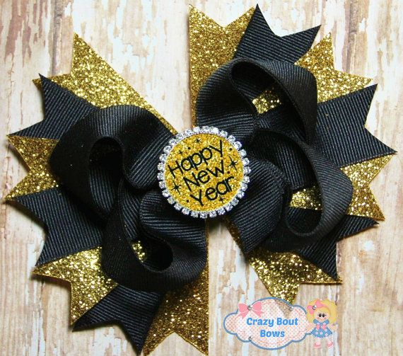 Happy New Year Hair Bow New Years Eve Hair Bow by CrazyBoutBows #hairbows