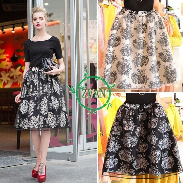 Ретро длинная юбка женщины цветочный печать завышенная талия органза юбка элегантный европейский стиль качающиеся юбка белый черный шифон юбка