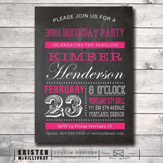 30 Birthday Party Chalkboard Invitation - DIY Digital File Printable -  Dirty 30 30th 21st 40th 50th 60th