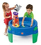 Step2  Waterwheel Play Table   The wide funnel activates the water wheel, which spills into the inner and outer harbors 4 piece accessory set includes 1 shark scoop, 2 sailboats and 1 waterwheel tower Two molded in sections function as canals, moats, lakes, harbors and more Holds up to 4 gallons...
