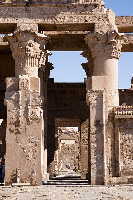 The Temple of Kom Ombo is an unusual double temple built during the Ptolemaic dynasty in the Egyptian town of Kom Ombo. The building is unique because its 'double' design meant there were courts, halls, sanctuaries & rooms duplicated for 2 sets of gods. The temple was started by Ptolemy VI Philometor (180-145 BC) at the beginning of his reign & added to by other Ptolemys, most notably Ptolemy XIII (51-47 BC), who built the inner and outer hypostyle halls. (V)