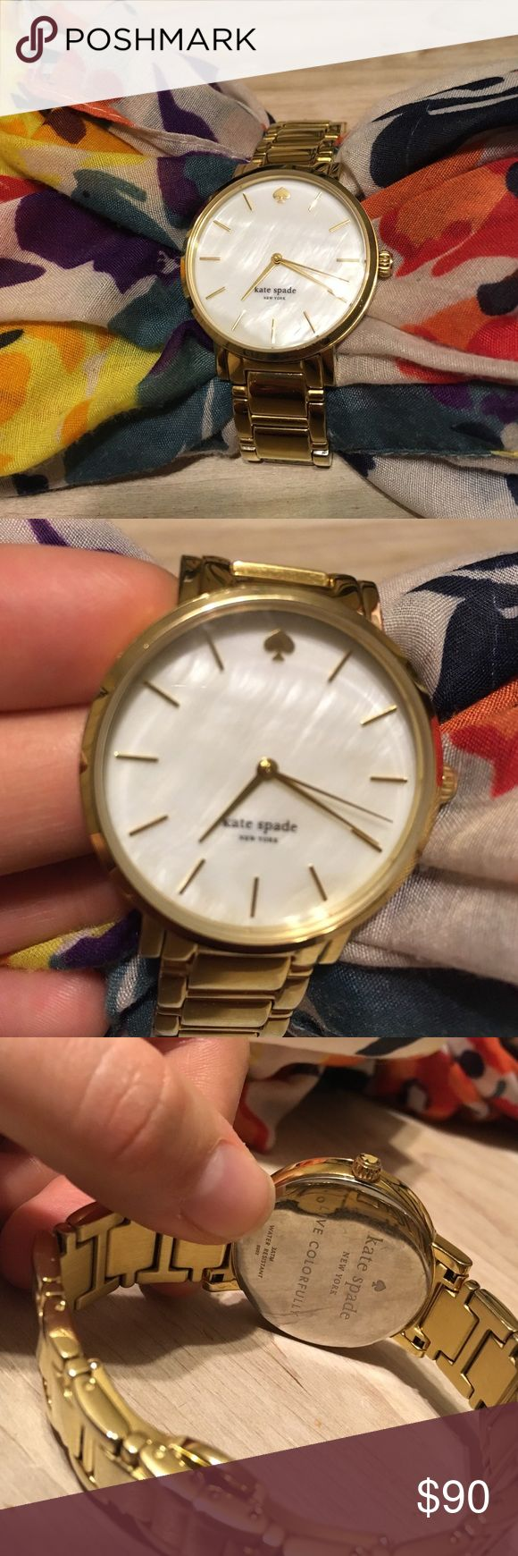 Kate Spade gold watch Authentic Kate Spade watch. Stainless steel with gold color. Simply beautiful mother of pearl face. Needs new battery. No scratches on face of watch! Good used condition. Easy to use clasp for easy fit. Can remove some of the links to make even smaller for small wrists. kate spade Accessories Watches