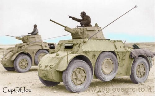 Autoblinda 41 Desert fox's. Autoblinda 41 (AB 41) was a Italian armored car in use during World War II. Armed with a 20 mm Breda 35 autocannon, coaxial 8mm machine gun in a turret similar to the one fitted to the Fiat L6/40, and another hull mounted rear-facing 8mm machine gun. six forward gears and four reverse gears, with a driving position at the front and one in the rear, so two crew members were drivers.