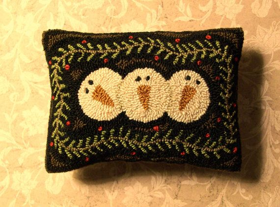 Primitive Needle Punch Pillow Pattern 3 Snowmen By Thetalkingcrow 8 00