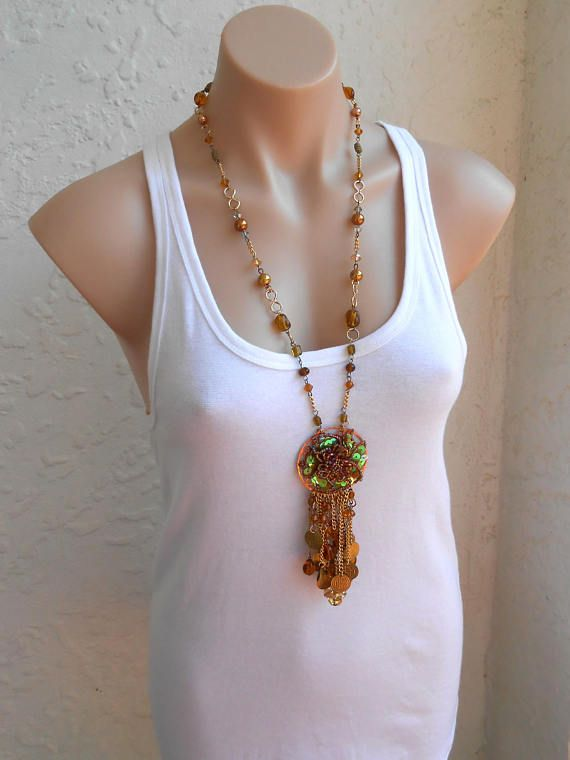 Extra Long Necklace Vintage Necklace Sequin Gold Necklace