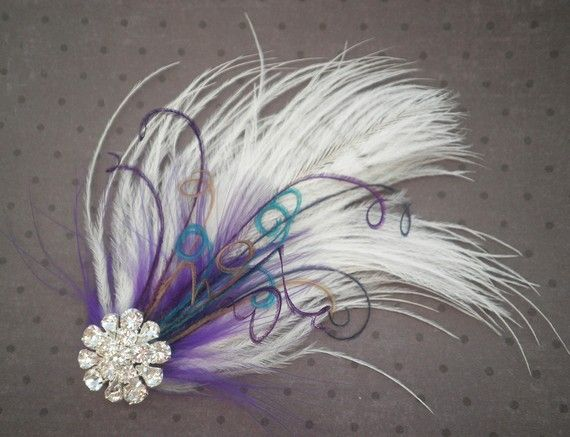 Bridal Facinator Accessories Feather Hair clip by PeacockPixys, $36.00