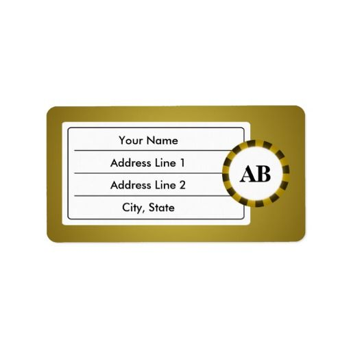 Golden monogram design custom address labels