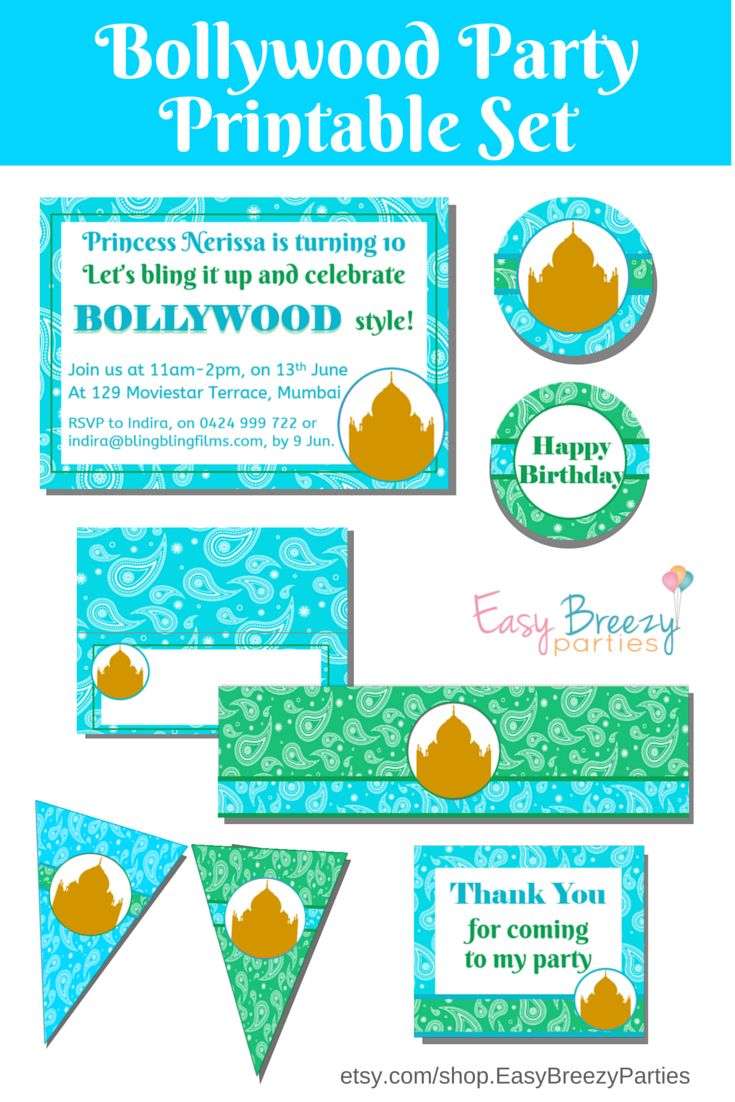 Turquoise and Teal Bollywood party printable set, including invitation, welcome posters, food tents, chocolate wrappers, drink bottle labels, thank you bag tags, circles, bunting and more! By #easybreezyparties.