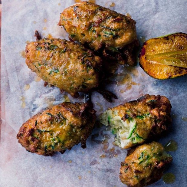 Courgette and manouri fritters I Ottolenghi recipes