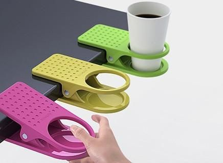Oh man.  So so handy!: Drinks Holders, Gadgets, Gifts Ideas, Offices, Cups Holders, Crafts Tables, Great Ideas, Products, Desks Accessories
