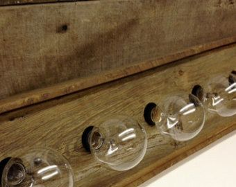 ALL WOODS EDGE ITEMS SHIP FREE IN USA lower 48.  6 bulb vanity light encased in 1890s poplar and pine Indiana barn wood. This heavy duty barn wood Vanity bar is about 2 deep x 5 to 7 tall x 36 to 42 long. I can make with less or more bulbs or size to your needs, just ask or put in custom order.  Please note any special dimensions and i will do my best to get it as close as needed.  Price includes freight.  Price doesnt include bulbs.  Please note all lights made with my barn wood will vary…