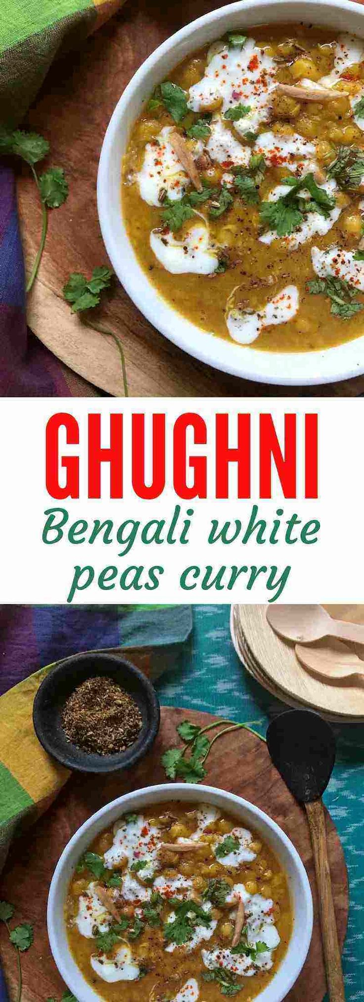 Ghughni is a simple Indian curry made using dried white peas, served by itself or as an accompaniment. It is also a popular street food in various parts of India.