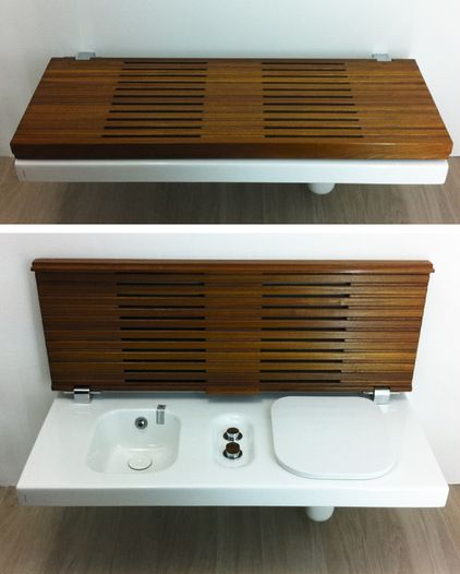 This is a great idea, toilet and bidet, well hidden from view! contemporary  Hatria's G-Full toilet / bidet bench - CERSAIE 2013