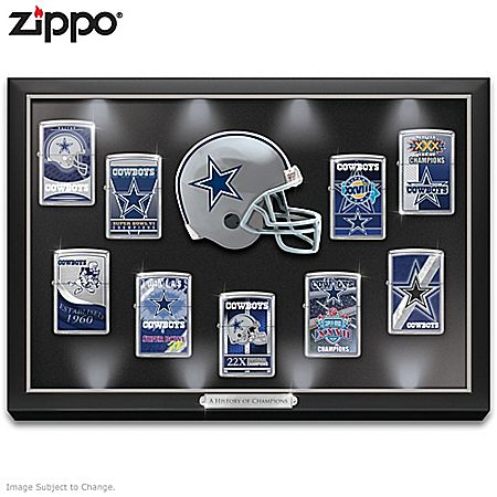 NFL Dallas Cowboys Zippo Windproof Lighter Collection with Lighted Display