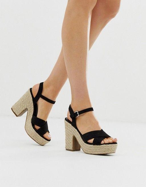 0153c8ca121 New Look espadrille heeled sandal in black in 2019 | New Look ...