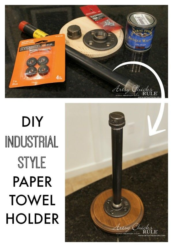 SO SIMPLE Industrial Style DIY Paper Towel Holder - super simple!! - #diy #industrial artsychicksrule.com