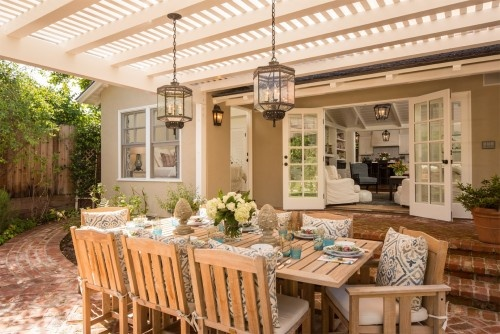 This pergola has a nice slatted top to it to provide extra shade.  Nice.: Patio Design, Ideas, Outdoor Living, Backyard, Pergola, House, Outdoor Spaces, Garden