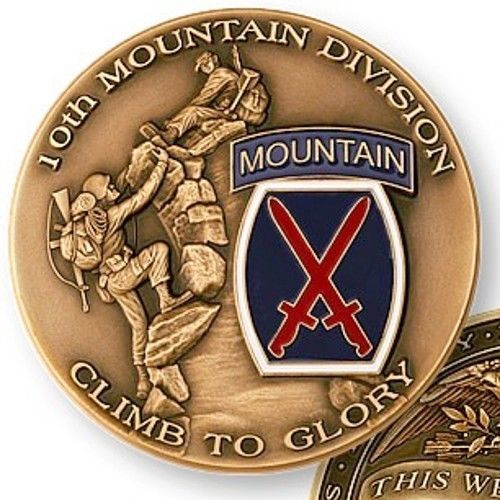 U.S. ARMY 10th MOUNTAIN DIVISION CLIMB TO GLORY CHALLENGE COIN MEDAL         (0)