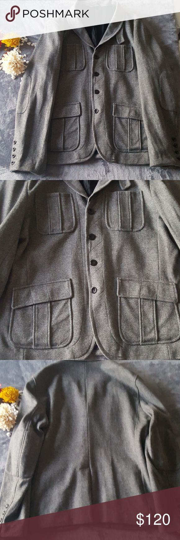 Authentic Armani Exchange This is clean and has already been washed and air dried with no stains or anything. . There is an inside pocket as shown in the 7th picture. The buttons do say armani exchange on them. It is pretty heavy and warming. Armani Exchange Jackets & Coats Pea Coats
