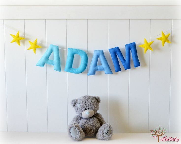 A perfect addition to your childs bedroom custom made to match their bedroom color and/or theme! Letter and embellishment sizing is approximately 5x5. Length of ribbon will be arranged after sale is completed. Each letter is hand cut from eco friendly felt, hand stitched with quality