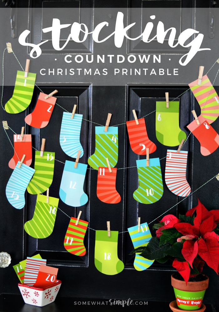 Stocking Christmas Countdown Printable. Print off these colorful stockings and use them as a fun advent this holiday season!