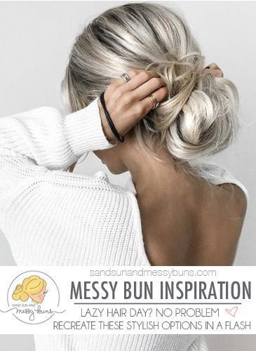 A New Dose of Messy Bun Hair Inspiration #bunhair Messy bun hair inspiration. For those days when you're feeling lazy and want a simple style! #messyb...