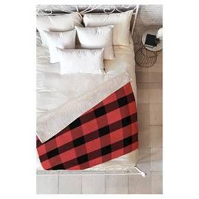 "Red Plaid Allyson Johnson Winter Plaid Sherpa Throw Blanket (50""x60"") DENY Designs : Target"