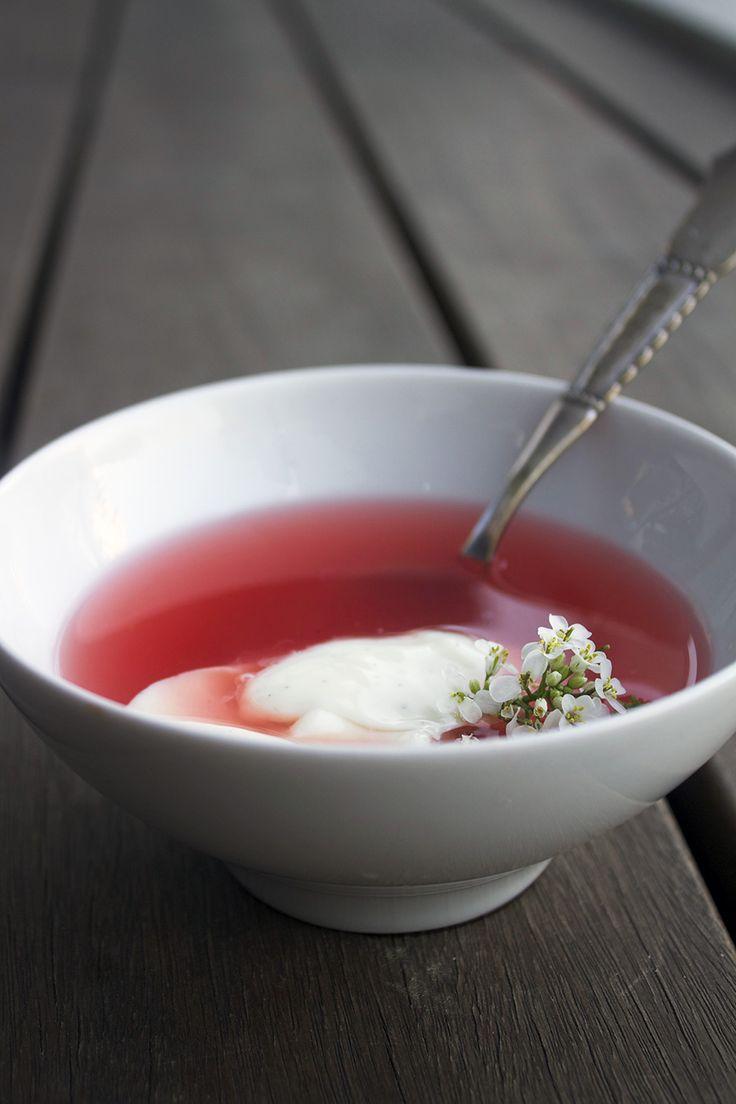 Kold rabarbersuppe med vaniljeskyr // Cold rhubarb soup with vanilla cream