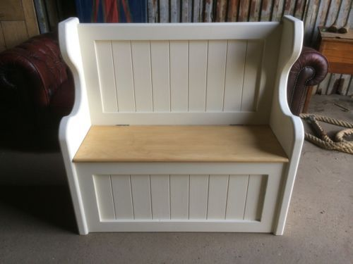 Solid-3-Ft-Pine-Handmade-Monks-Pew-Settle-Storage-Bench-Window-Hallway-Seat