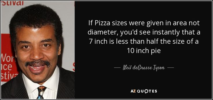 If Pizza sizes were given in area not diameter, you'd see instantly that a 7 inch is less than half the size of a 10 inch pie - Neil deGrasse Tyson