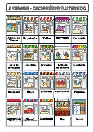 Portuguese vocabulary - A cidade / City, town How To Speak Portuguese, Learn Brazilian Portuguese, Portuguese Lessons, Portuguese Language, Italian Language, Portuguese Food, Portuguese Recipes, Common Quotes, English Study