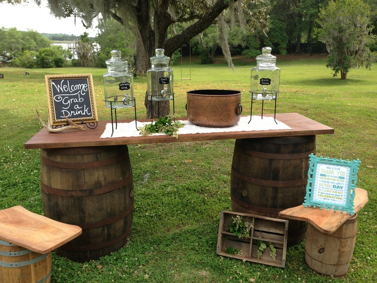 Norred S Weddings And Events: Wine Barrel Self-service Drink Station By JW Weddings And