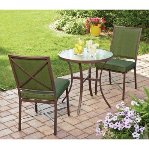 patio bistro set 3 piece outdoor furniture chairs table garden seat backyard mainstays