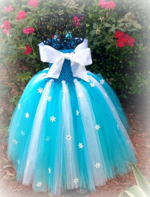 frozen inspired Elsa dress w/ personally hand crafted by TuTuGenie