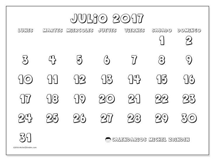 Gratis! Calendarios para julio 2017 para imprimir
