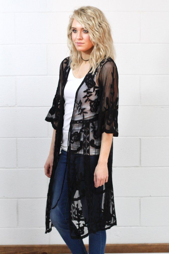 d18027e31336 Mesh kimono jacket with lace details throughout. We love the scalloped edge  sleeves and the sheer look of the mesh. Perfect over a dress, with jeans,  ...