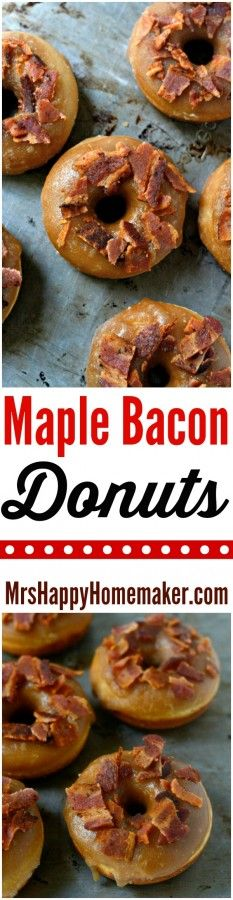 My Maple Bacon Donuts are light, delicate, and sweet & salty all at once. They're baked, so they're super simple to whip up a batch. With the double glazing & airy dough, you won't even be able to tell that they're not fried. SO DELICIOUS! | MrsHappyHomemaker.com @thathousewife