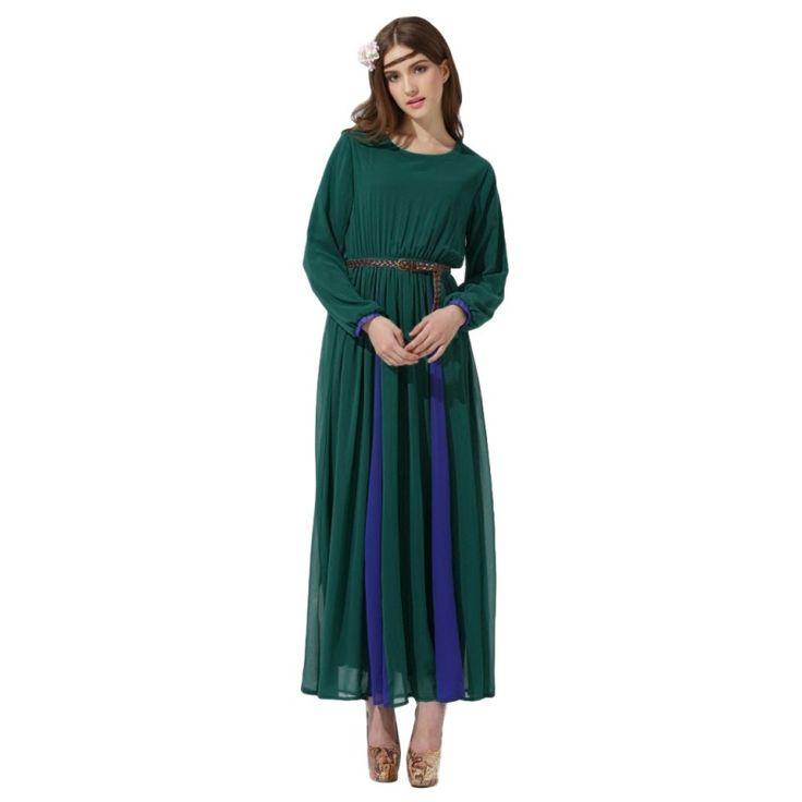 Vintage Muslim Long Chiffon Dress Kaftan Jilbab Islamic Abaya Women Cocktail Party