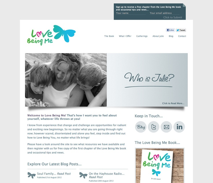Love Being Me website development (designed by Shrewsbury Design & Photography). Re-design of existing site to tie in with launch of new Love Being Me e-book on Amazon.: Website Developmental,  Internet Site,  Website, Web Site, Exist Site