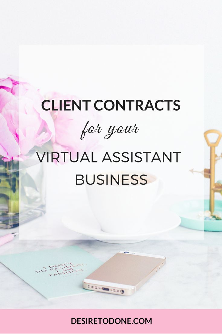 A 4-pack of contracts for your Virtual Assistant business that you can use over and over. Just copy and paste the contract template into a contract delivery system like Docracy, add your information, and send to your client. Easy! Click to learn more.