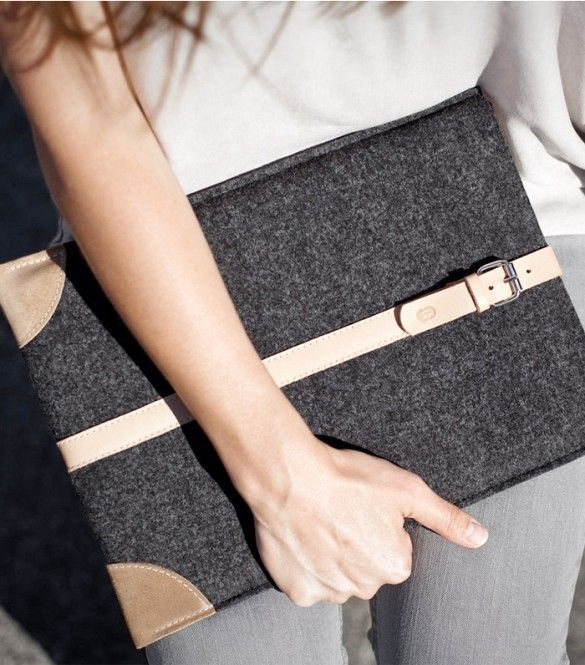Cocones Vegetable Tanned Italian Leather and Merino Wool Felt Case