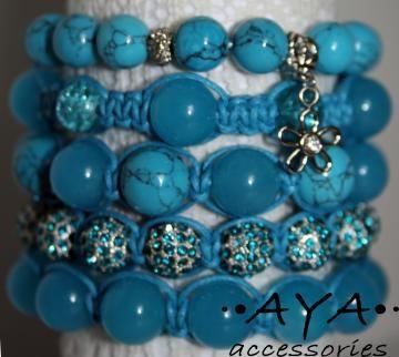 Blue bead shambala charm bracelet by AYAJEWELLERY for $54.00