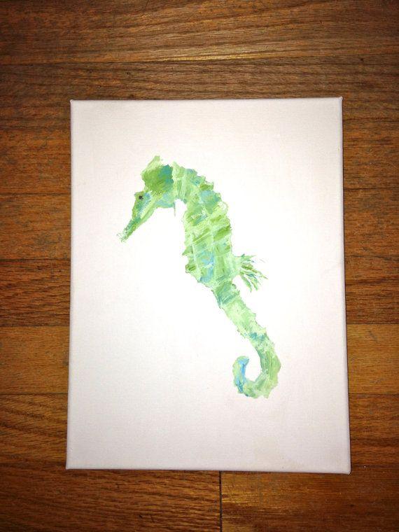 Muted Seahorse Canvas via Etsy #seahorse #beach #sand #canvas #painting #art
