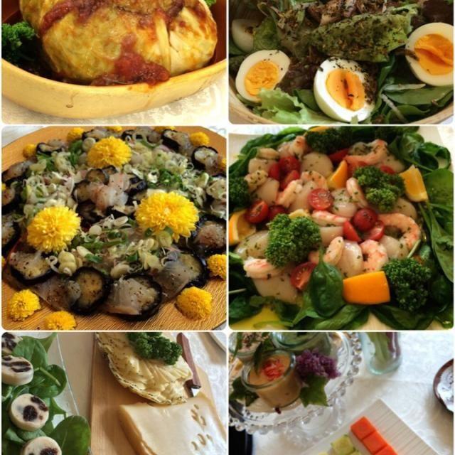 まあやちゃんが見た目にも美肌にも優しいマクロビオティックを取り入れたお料理を作ってくれましたよ〜 どれも激ウマなんですよね〜ヽ(*^∇^*)ノ  ・海老とホタテのサラダ パセリとバジルソースでコラーゲン増量美肌アップ  ・有機野菜にあうち蒸したキュービックベジタブル  ・小葱のディップ ・マスカルポーネディップ ・パプリカディップ  ・ブルーチーズと手作りマヨネーズのサラダ  ・茄子の揚げ煮タイ料理 ヌクマム、魚介のソース  ・ロシアからのチーズ盛り合わせ  ・シフォンケーキ ラズベリーソース - 100件のもぐもぐ - まあやちゃんの素晴らしすぎるパーティー②                                                          美を意識したお料理 マクロビと野菜の恵み by 志野