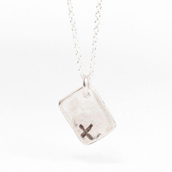 Lace Cross Square Pendant - Silver | DARKBLACK $175 NZD