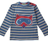 Long sleeved top featuring a giant Raccoon applique. Made with a 'mum's eye' for the practical and featuring a button neck opening for no-tears easy dressing. Manufactured to the highest ethical standards 100% Organic Cotton Interlock. Machine washable