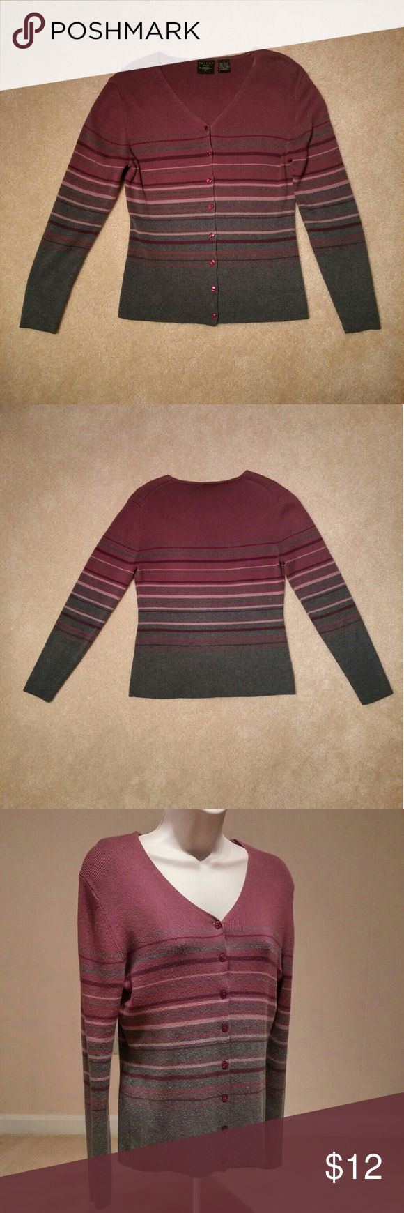 Heather Gray & Burgundy Striped Cardigan Sweater By Tailor B. Moss. 55% Acrylic/45% Cotton. B. Moss Sweaters Cardigans