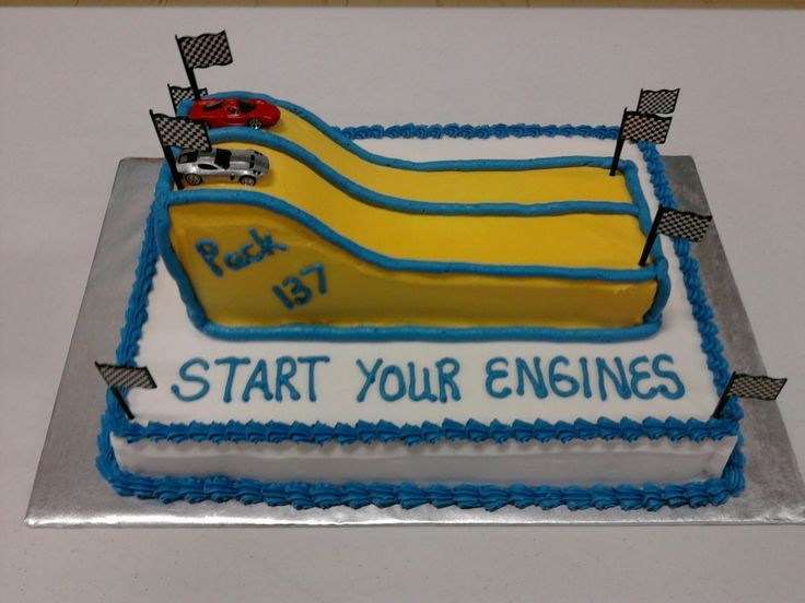 I made this cake for my sons Cub Scout pinewood derby.  Used 9x13 cake cut in half and shaped to make the track.  Used plastic flag picks and mini cars