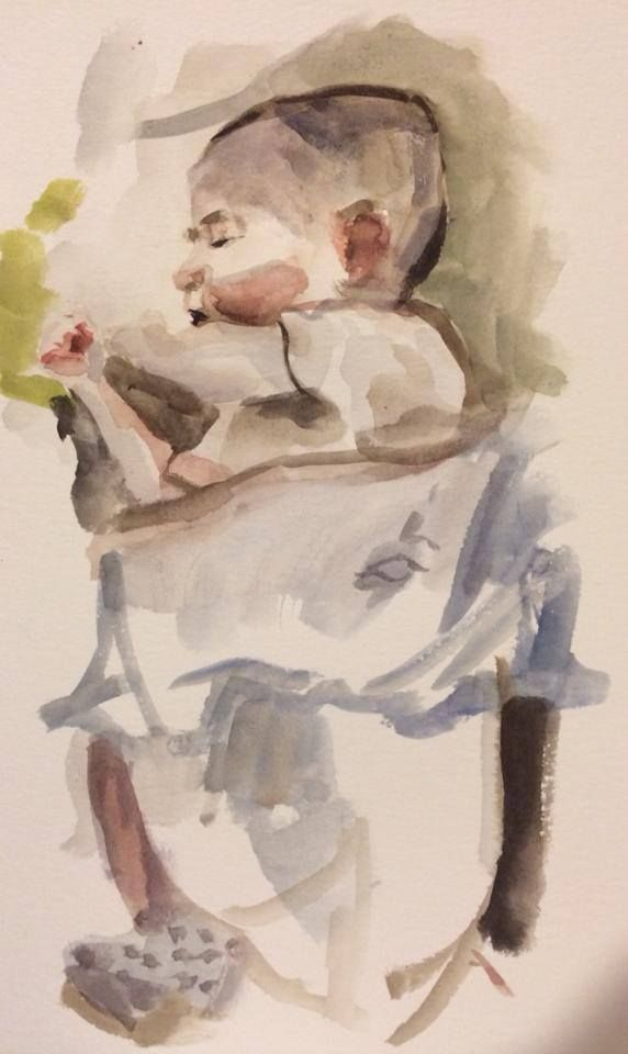 Son sleeping (Watercolor on Paper)
