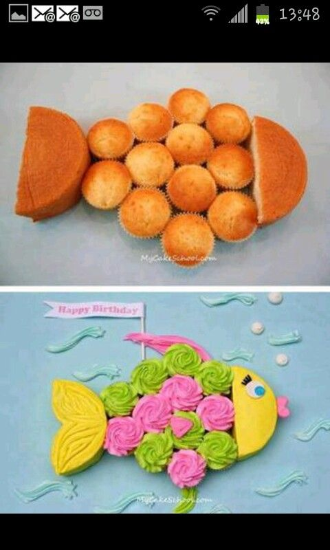 Tear apart cake. Fish.Under the sea/underwater theme party cake